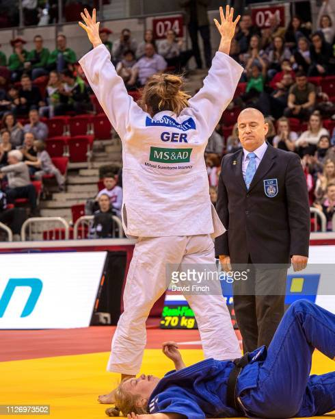Miriam Butkereit of Germany celebrates reaching the u70kg final after defeating Hilde Jager of The Netherlands by an ippon to win the semifinal...