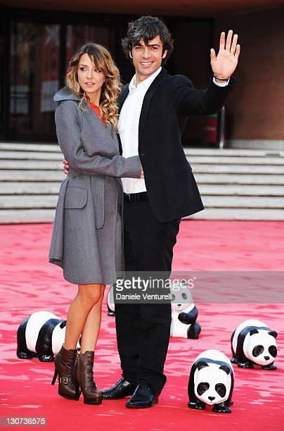 Miriam Catania and Luca Argentero attend the WWF red carpet during the 6th International Rome Film Festival at Auditorium Parco Della Musica on...