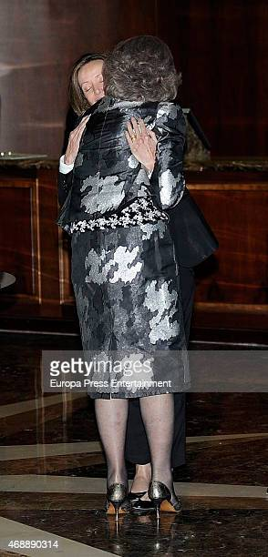 Miriam de Ungria and Queen Sofia attend the funeral chapel for Prince Kardam of Bulgaria on April 7, 2015 in Madrid, Spain.