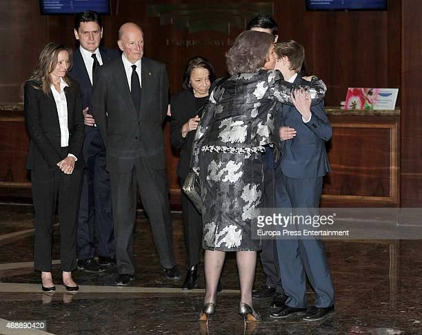 Miriam de Ungria, guest, King Simeon of Bulgaria, Queen Margarita Gomez-Acebo, Queen Sofia and Prince Beltran Tumovski attend the funeral chapel for...
