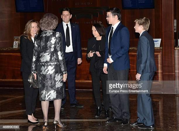 Miriam de Ungria, Queen Sofia, guest, Queen Margarita Gomez-Acebo, Prince Boris Tumovski and Prince Beltran Tumovski attend the funeral chapel for...