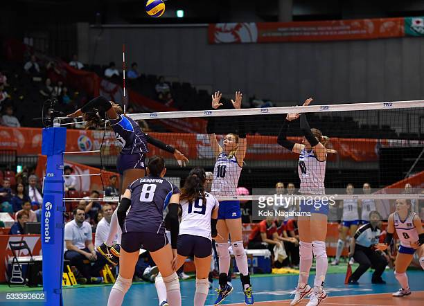 Miriam Fatime Sylla of Italy spikes the ball during the Women's World Olympic Qualification game between Italy and Kazakhstan at Tokyo Metropolitan...