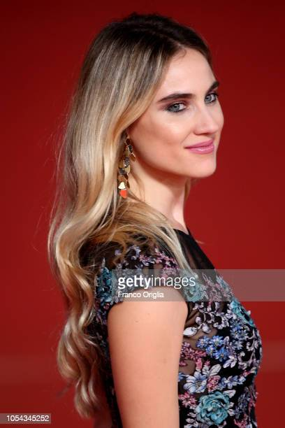 Miriam Galanti walks the red carpet ahead of the 'Notti Magiche' screening during the 13th Rome Film Fest at Auditorium Parco Della Musica on October...