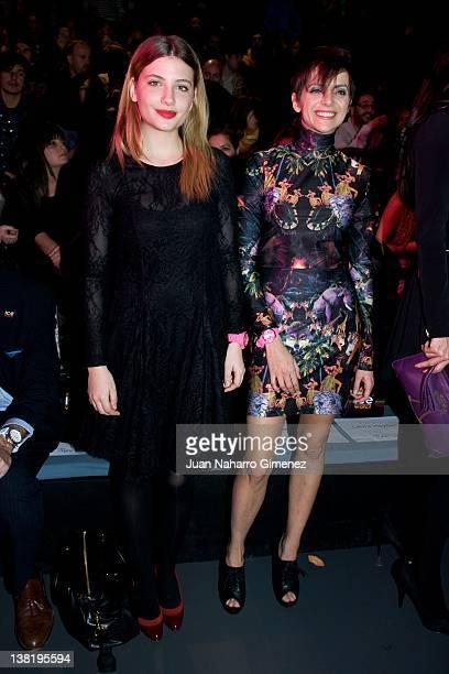 Miriam Giovanelli and Macarena Gomez attend the Carlos Diez and Maria Escote show during MercedesBenz Fashion Week Madrid A/W 2012 at Ifema on...