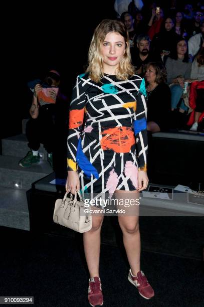 Miriam Giovanelli is seen at the Maria Escote show during the MercedesBenz Fashion Week Madrid Autumn/Winter 201819 at Ifema on January 25 2018 in...