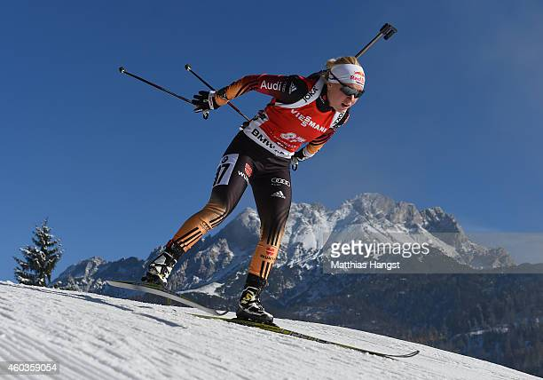 Miriam Goessner of Germany competes during the women's 75 km sprint event during the IBU Biathlon World Cup on December 12 2014 in Hochfilzen Austria