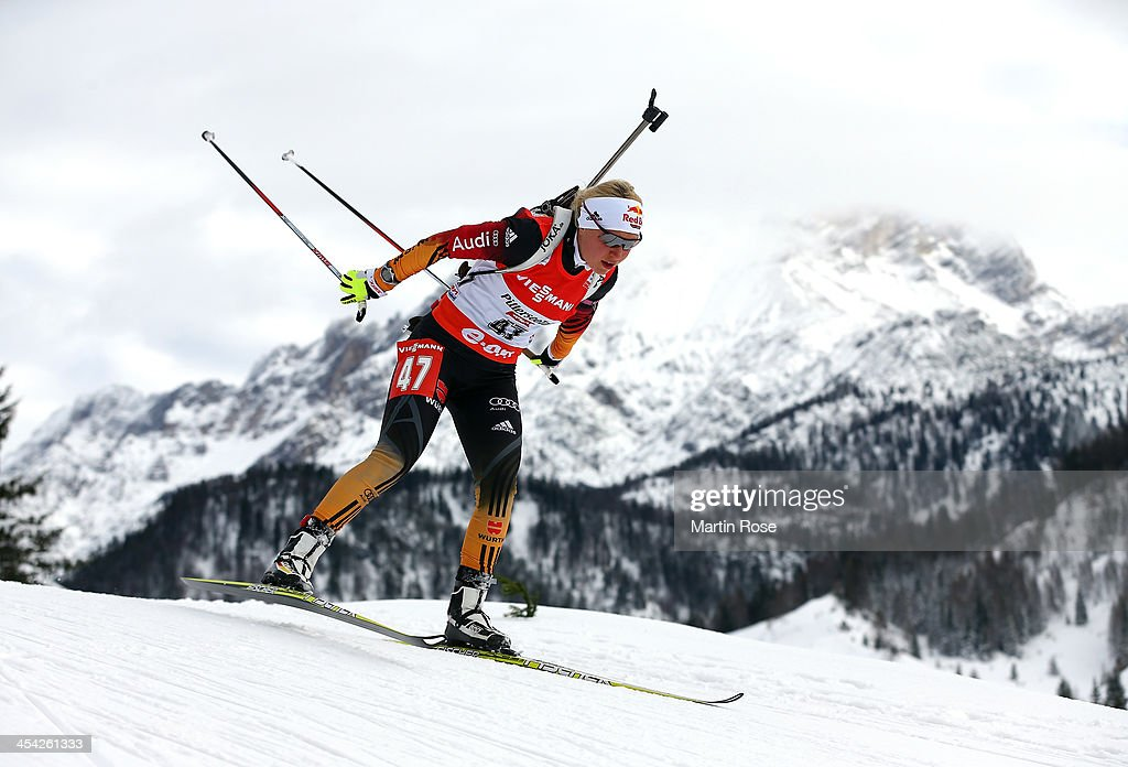 Miriam Goessner of Germany competes in the women's 10km pursuit event during the IBU Biathlon World Cup on December 8, 2013 in Hochfilzen, Austria.