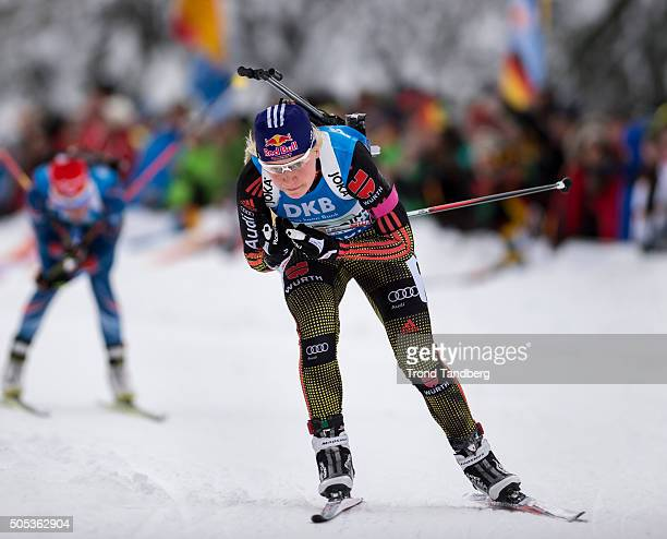 Miriam Goessner of Germany in action during the Women 4 x 5 km relay Biathlon race at the IBU Biathlon World Cup Ruhpolding on January 17 2016 in...