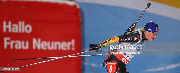 Miriam Goessner of Germany in the women's 7,5km sprint event during the IBU Biathlon World Cup at Chiemgau Arena on January 11, 2013 in Ruhpolding,...