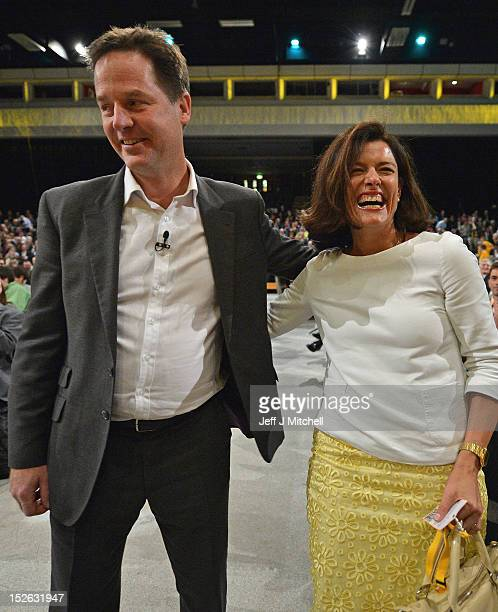 Miriam Gonzalez Durantez reacts following her husband Deputy Prime Minister Nick Clegg question and answer session at the Liberal Democrat conference...