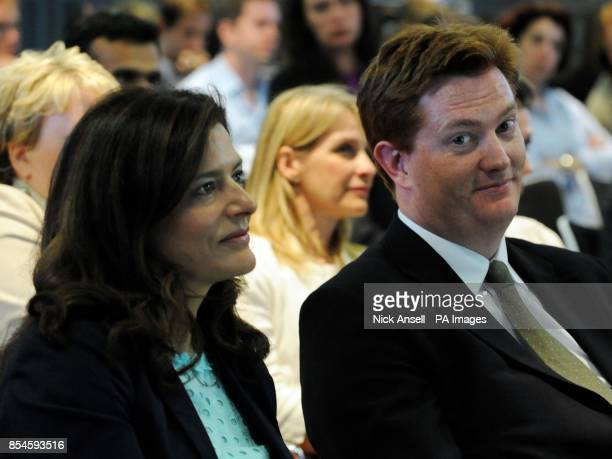 Miriam Gonzalez Durantez the wife of the Deputy Prime Minister and leader of the Liberal Democrats Nick Clegg sits next to chief secretary to the...