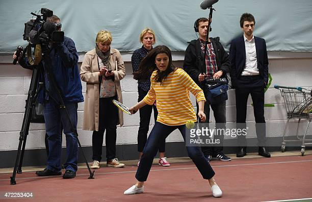 Miriam Gonzalez Durantez wife of Leader of the Liberal Democrats Nick Clegg takes part in a tennis coaching session at the Tudor Grange Leisure...