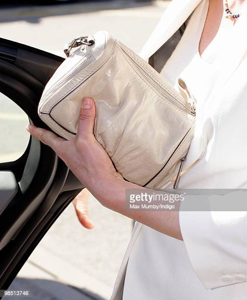 Miriam Gonzalez Durantez wife of Liberal Democrats Leader Nick Clegg carrys her 'Bimba Lola' handbag following a visit to the Maternity Unit at...