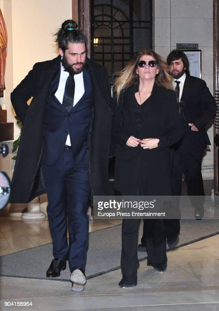 Miriam Guisasola Juan Jose Franco Suelves and Francisco Franco Suelves attend the funeral mass for Carmen Franco daughter of the dictator Francisco...