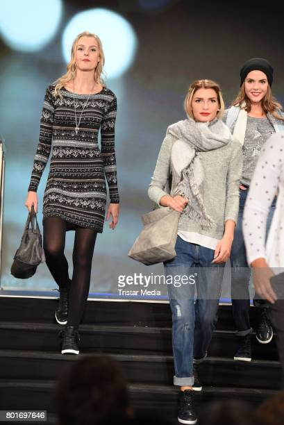 Miriam Hoeller and Giuliana Farfalla walk the runway during the Ernsting's Family Fashion Show at Stage Operettenhaus on June 26 2017 in Hamburg...