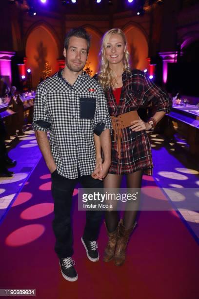 Miriam Hoeller and her boyfriend Nathan Nate Herbert attend the Ernsting's Family Fashion Dinner on November 26, 2019 in Hamburg, Germany.