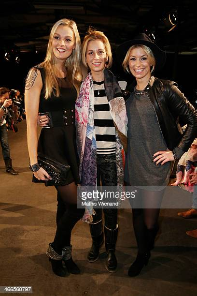 Miriam Hoeller Tina Bordihn and Annica Hansen attend the Maison Anoufa fashion show during Platform Fashion Dusseldorf on February 2 2014 in...