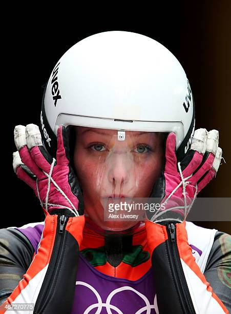 Miriam Kastlunger of Austria looks on prior to a Women's luge run during a training session ahead of the Sochi 2014 Winter Olympics at the Sanki...