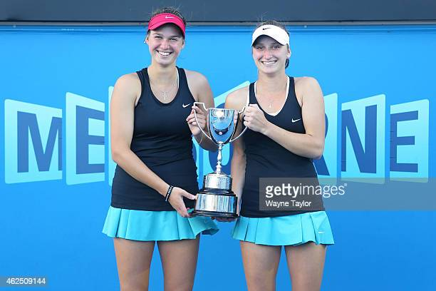 Miriam Kolodziejova of the Czech Republic and Marketa Vondrousova of the Czech Republic hold the winners tropy after winning their final doubles...