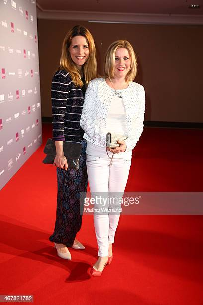 Miriam Lange and Aleksandra Bechtel attend the Gloria Deutscher Kosmetikpreis 2015 at Hilton Hotel on March 27 2015 in Duesseldorf Germany