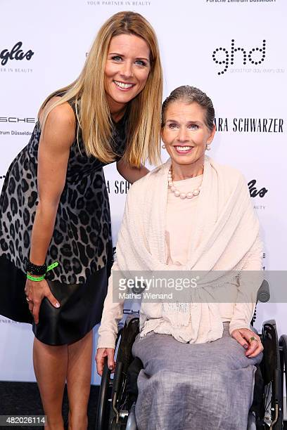 Miriam Lange and Barbara Schwarzer arrive for the Barbara Schwarzer show during Platform Fashion July 2015 at Areal Boehler on July 26 2015 in...