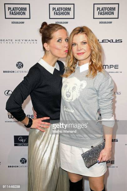 Miriam Lange and Eva Imhof attend the 'Platform Fashion Selected' show during Platform Fashion January 2018 at Areal Boehler on January 28 2018 in...