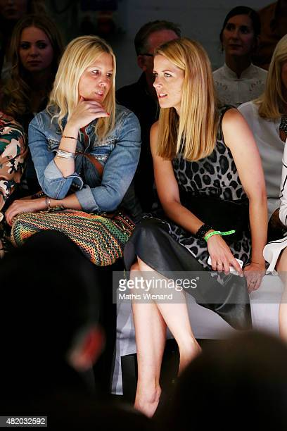 Miriam Lange and guest arrive for the Barbara Schwarzer show during Platform Fashion July 2015 at Areal Boehler on July 26 2015 in Duesseldorf Germany