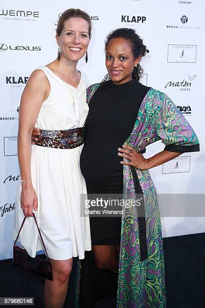 Miriam Lange and Milka Loff Fernandez attend the Thomas Rath show during Platform Fashion July 2016 at Areal Boehler on July 24 2016 in Duesseldorf...