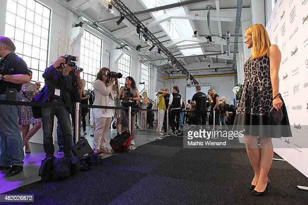 Miriam Lange arrives for the Barbara Schwarzer show during Platform Fashion July 2015 at Areal Boehler on July 26 2015 in Duesseldorf Germany