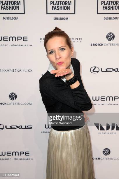 Miriam Lange attends the 'Platform Fashion Selected' show during Platform Fashion January 2018 at Areal Boehler on January 28, 2018 in Duesseldorf,...