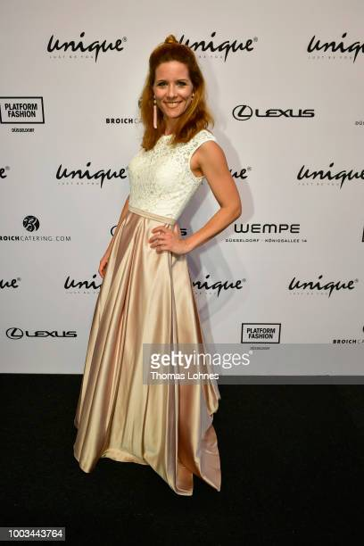 Miriam Lange attends the Unique show during Platform Fashion July 2018 at Areal Boehler on July 21, 2018 in Duesseldorf, Germany.