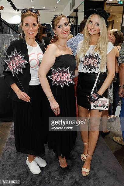 Miriam Lange, Store Manager Nicole Schilling and Anna Hiltrop attend KARL LAGERFELD at the Vogue Fashion's Night Out on September 9, 2016 in...