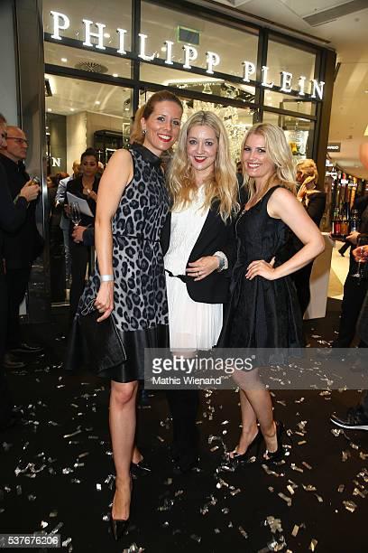 Miriam Lange, Tanja Comba, Jennifer Knaeble attend the Philipp Plein Store Event on June 2, 2016 in Duesseldorf, Germany.