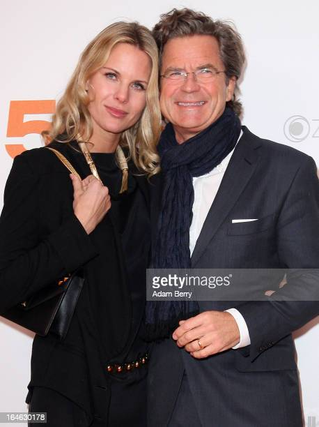 """Miriam Langenscheidt and Florian Langenscheidt pose on March 25, 2013 after a taping of one of the segments of the television program """"50 Jahre ZDF""""..."""