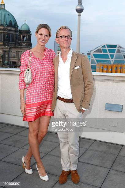 Miriam Langenscheidt and Max Raabe attend the 'Langenscheidts Handbuch zum Glueck' book launch at the Bertelsmann representative office on August 22...