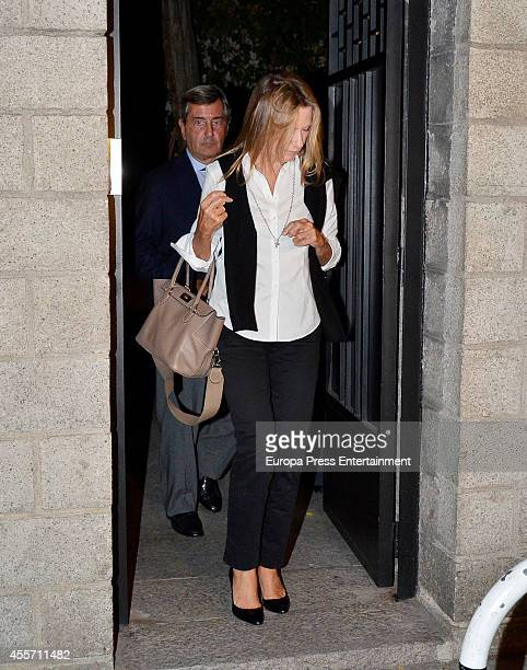 Miriam Lapique and Alfonso Cortina attend the funeral chapel for Isidoro Alvarez president of El Corte Ingles who died at 79 aged on September 14...