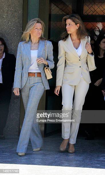 Miriam Lapique and Elena Cue attend the funeral of president of Real Madrid Florentino Perez's wife Pitina Sandoval at La Almudena crematorium on May...