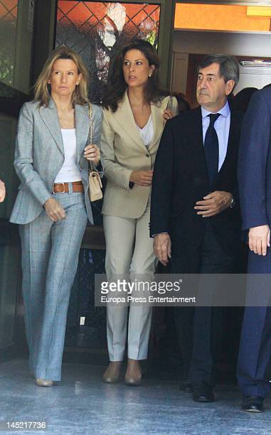 Miriam Lapique Elena Cue and Alfonso Cortina attends the funeral of president of Real Madrid Florentino Perez's wife Pitina Sandoval at La Almudena...