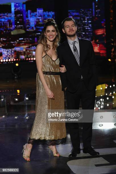 Miriam Leone and Alessandro Cattelan attend 'E Poi C'e' Cattelan' tv show on March 15, 2018 in Milan, Italy.