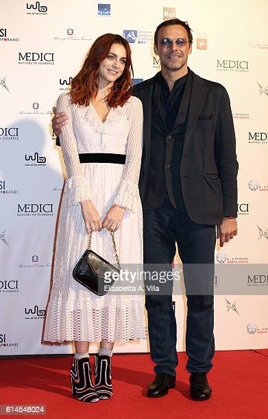 Miriam Leone and Alessandro Preziosi attend a photocall for 'I Medici' at Palazzo Vecchio on October 14 2016 in Florence Italy