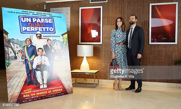 Miriam Leone and Fabio Volo attend a photocall for 'Un Paese Quasi Perfetto' on March 18 2016 in Rome Italy