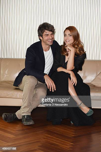 Miriam Leone and Luca Argentero attend 'Fratelli Unici' photocall on October 1 2014 in Milan Italy