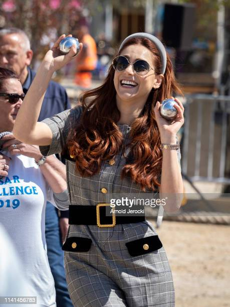 Miriam Leone attends a petanque contest on day five of the 2nd Canneseries International Series Festival, on April 09, 2019 in Cannes, France.