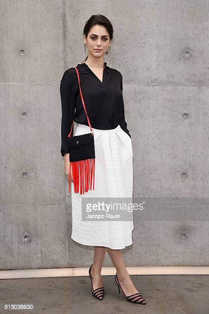 Miriam Leone attends the Giorgio Armani show during Milan Fashion Week Fall/Winter 2016/17 on February 29 2016 in Milan Italy