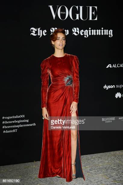 Miriam Leone attends the Vogue Italia 'The New Beginning' Party during Milan Fashion Week Spring/Summer 2018 on September 22 2017 in Milan Italy