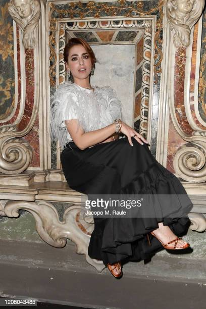 Miriam Leone attends the Vogue Yoox Challenge - The Future of Responsible Fashion Dinner event at S. Paolo Converso on February 22, 2020 in Milan,...