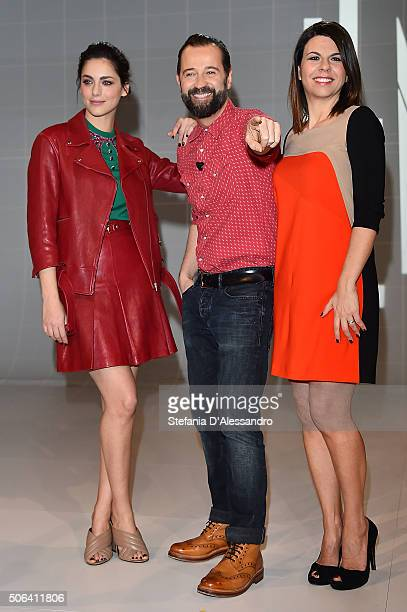 Miriam Leone Fabio Volo and Geppi Cucciari attend 'Le Iene' Tv Show photocall held at Mediaset Studios on January 23 2016 in Milan Italy