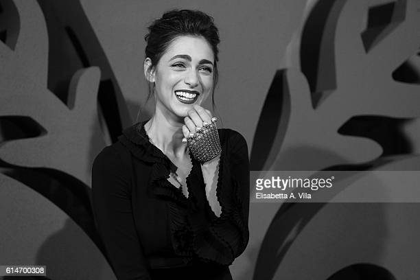 Miriam Leone walks a red carpet for 'I Medici' at Palazzo Vecchio on October 14 2016 in Florence Italy