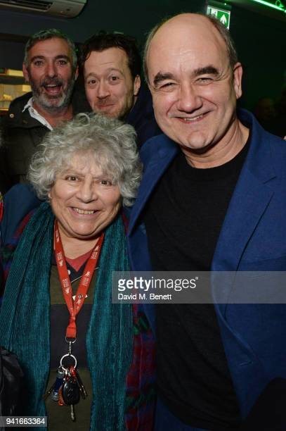 Miriam Margolyes and David Haig attend the press night performance of Pressure at The Park Theatre on April 3 2018 in London England