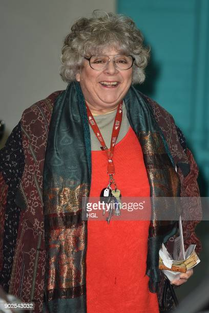 Miriam Margolyes OBE is seen at the ITV Studios on January 8 2018 in London England